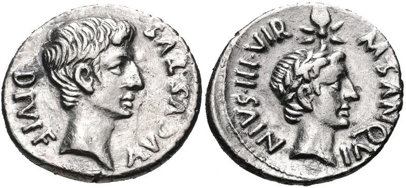 Julius caesar holy land peace pilgrim a denarius coin minted at rome in 17 bc caesar augustus left and julius caesar right image courtesy of classical numismatic group cngcoins freerunsca Images