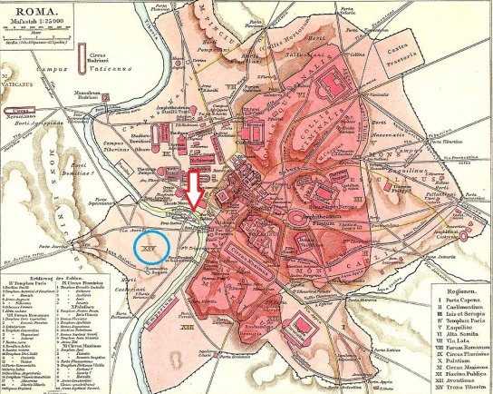 Map of Rome with arrow
