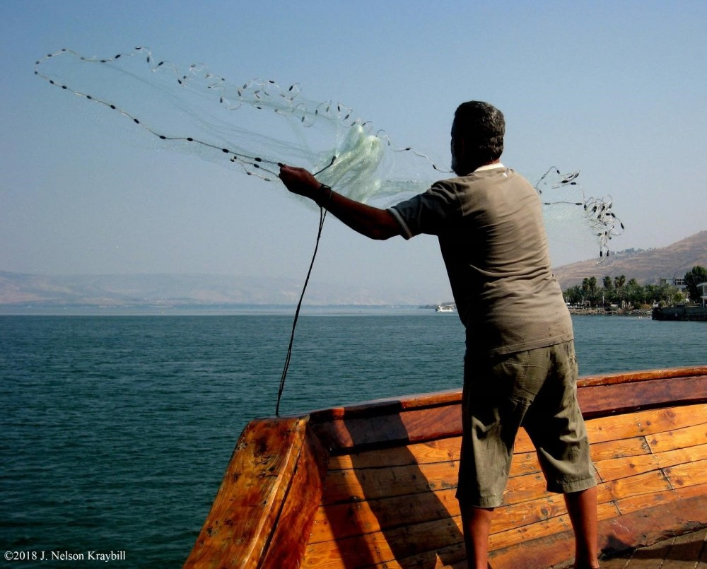 casting net on Sea of Galilee